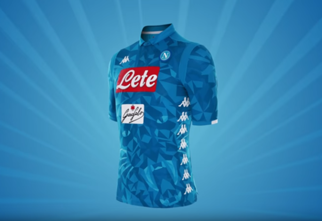3f0ffbaf2c120 Subtle  Napoli New  Kombat  2018 19 Home Shirt Is Resplendent In Blue  Geometric Camouflage With Roaring Panther s Head On It (Photo   Video)