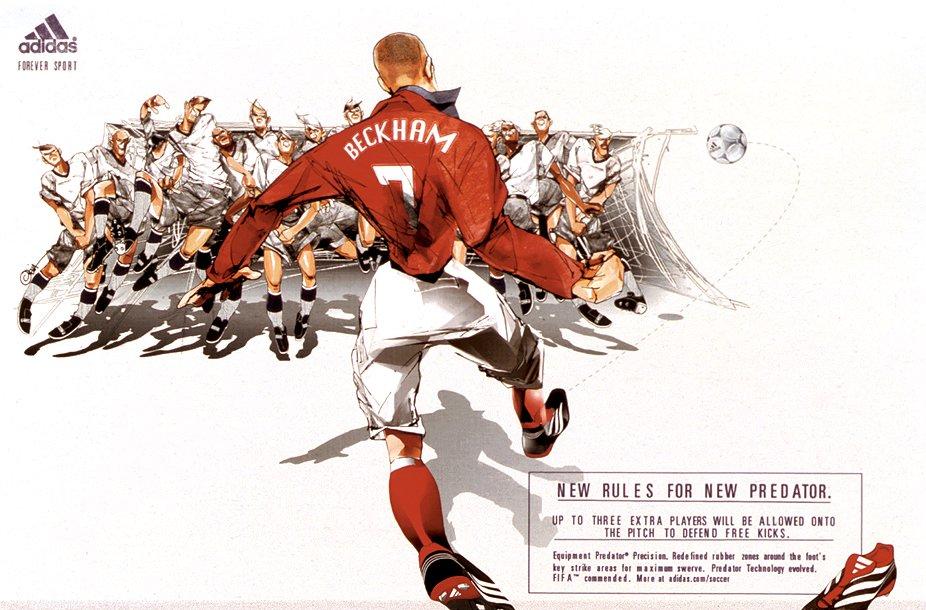 bb6d892514cf ... best price retro football beautifully illustrated adidas predator  adverts with david beckham alessandro del piero zinedine