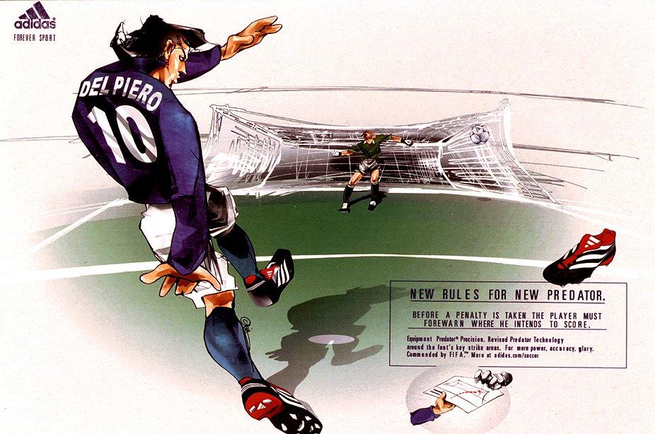 Retro Football Beautifully Illustrated Adidas Predator Adverts With David Beckham Alessandro Del Piero Zinedine Zidane And Kieron Dyer 2001 Photos Who Ate All The Pies
